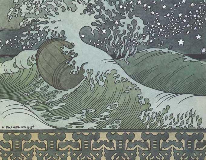 Сказки пушкина бочка по морю плывёт