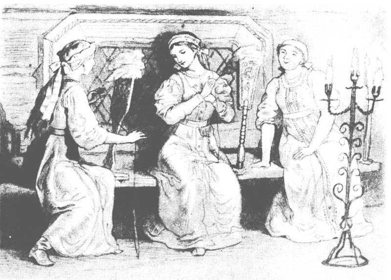 Сказки пушкина три девицы дехтерёв
