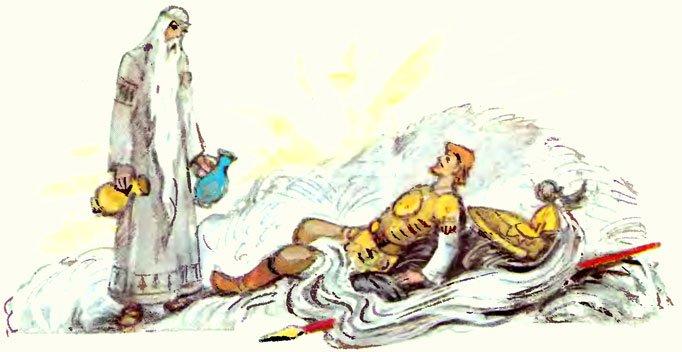 Воскрешение волшебником Финном Руслана с помощью мёртвой и живой воды